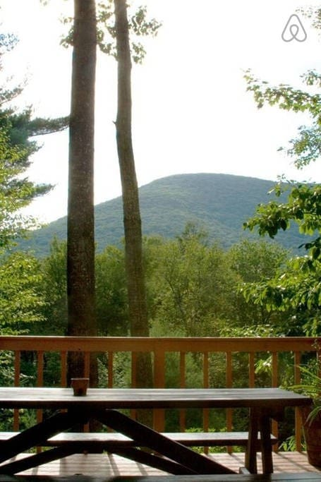 Looking at Mt. Tremper while dining on the deck.