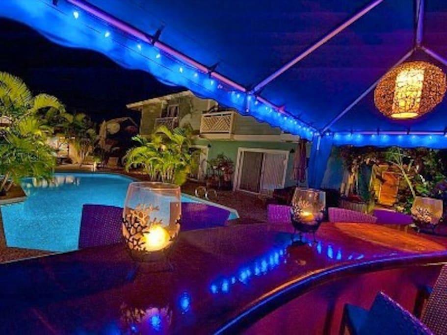 Beautiful warm pool for romantic night swims.