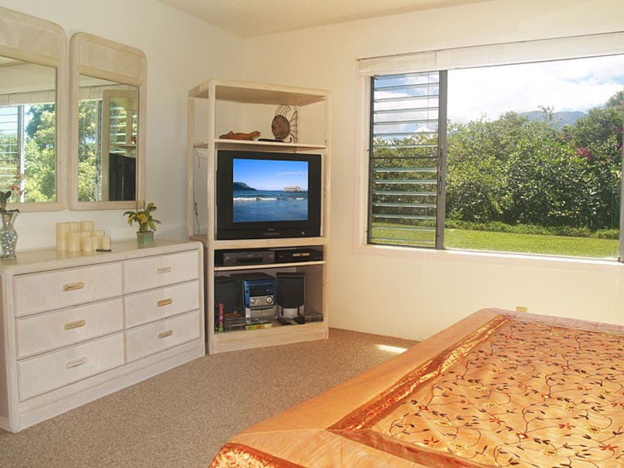 Master bedroom with a view of the mountains & waterfall