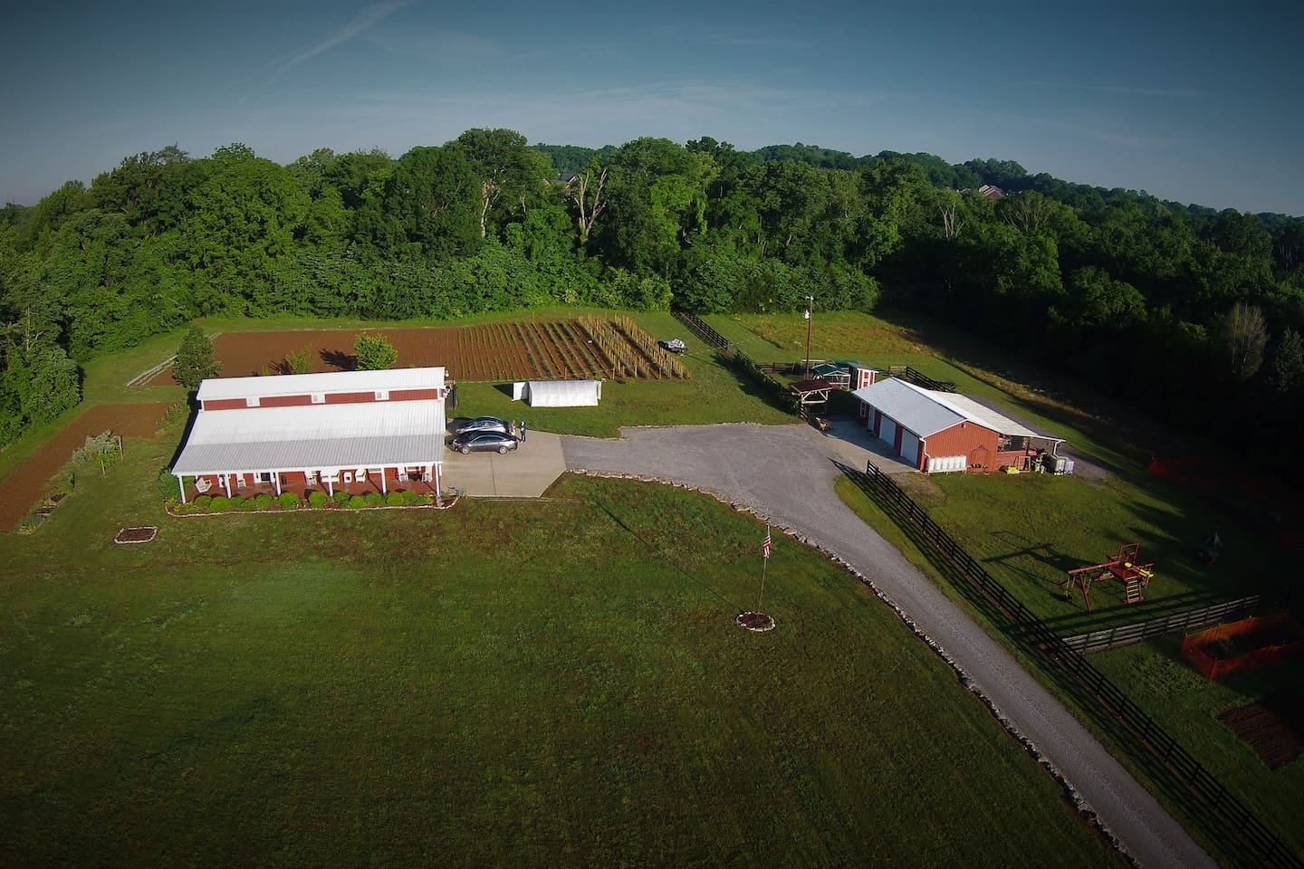Aerial view of the West side of Stoney Creek Farm Franklin, Tennessee.  The farm sits on 15.34 beautiful acres only minutes from I-65 and Hwy 96.