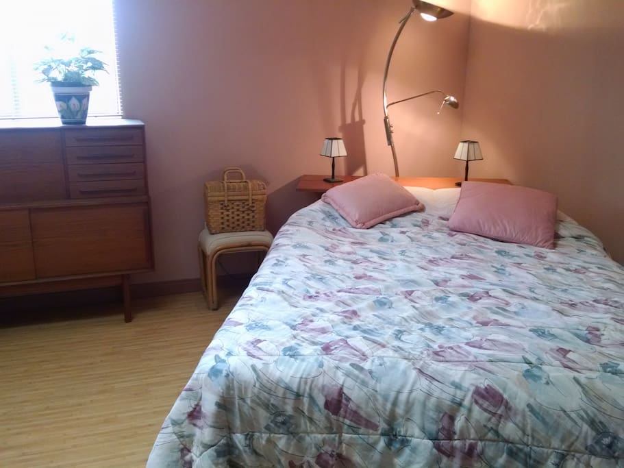 Simple, spacious and private bedroom. Queen bed
