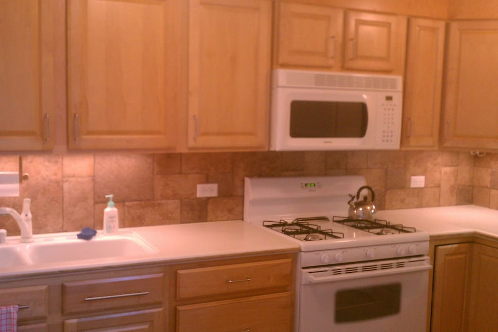 Small kitchen with everything you need and gas stove/oven.