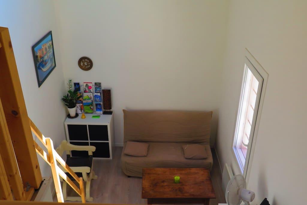 Salon avec canapé lit 2 places
