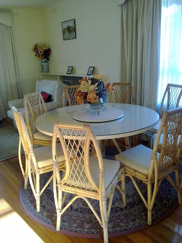 Dining in living area