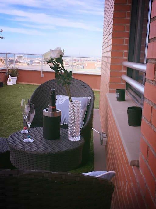 A quiet corner of the 100m2 wraparound terrace.