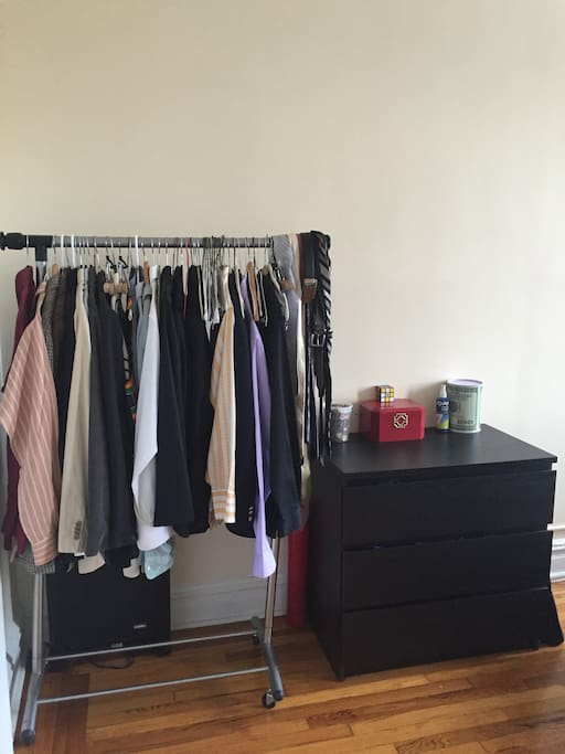 Dresser drawer and Clothes Rack.