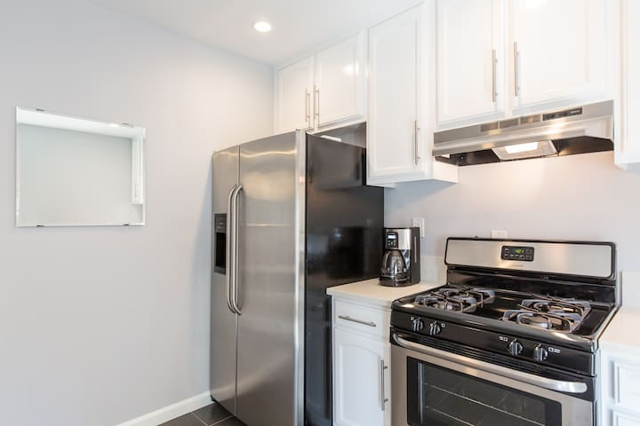 Full sized fridge and stove for your use.