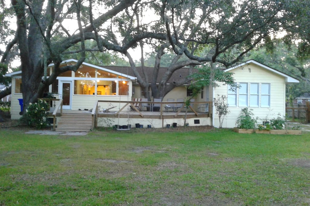 Your room is in the middle of the house, slightly hidden by a  200 year old Live Oak tree.