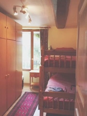 Bunk bedded room is ideal for children though beds are full size