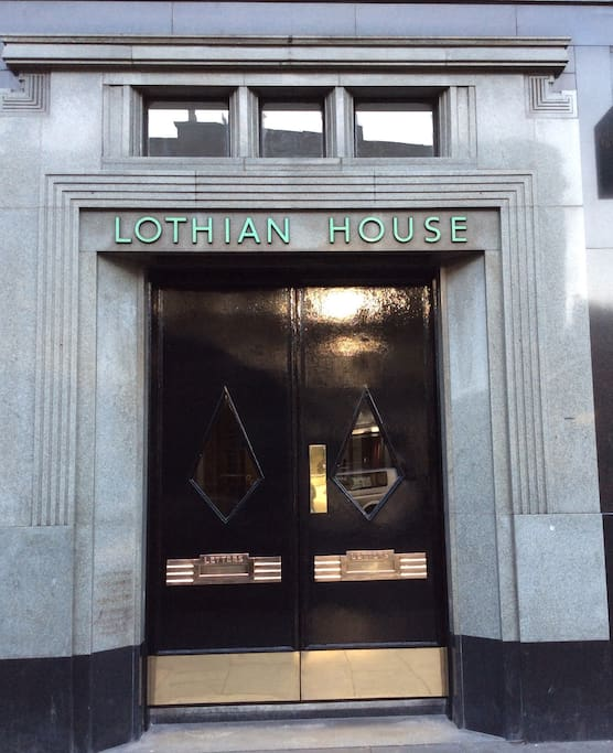 Main entrance to Lothian House, with original 1930s door