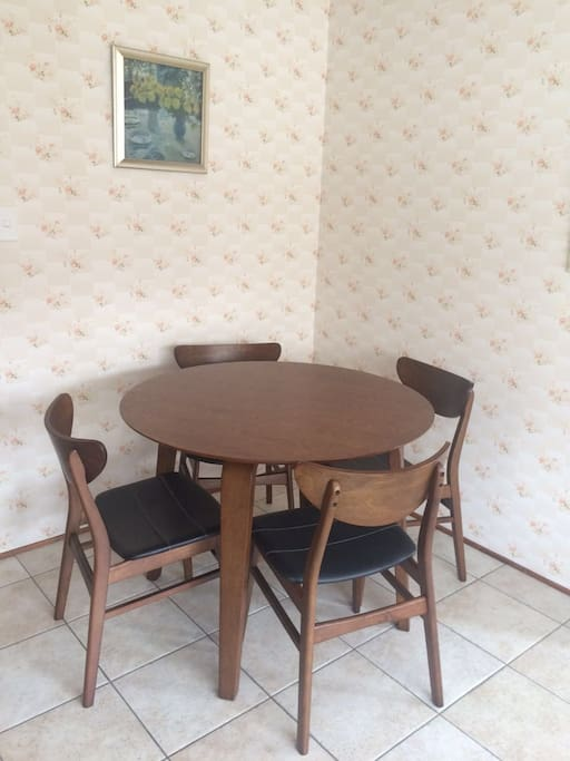 dinning table in the corner of kitchen