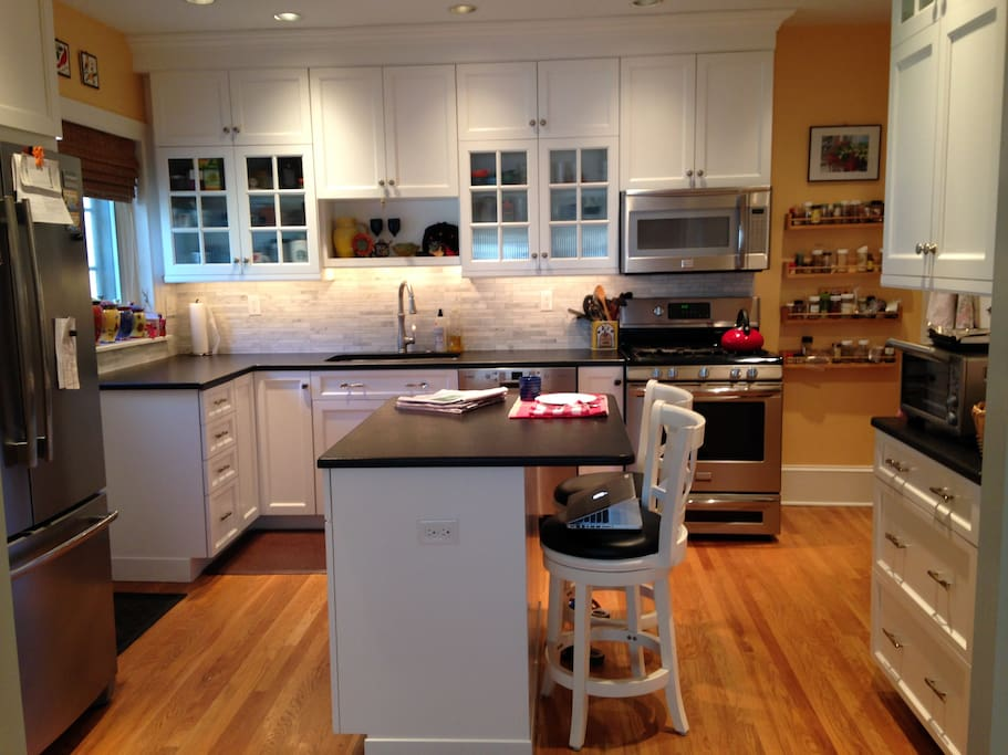 Our lovely kitchen where you can eat breakfast or prepare a meal.