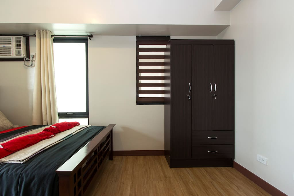 A closet is available spacious enough to organize and store your things.