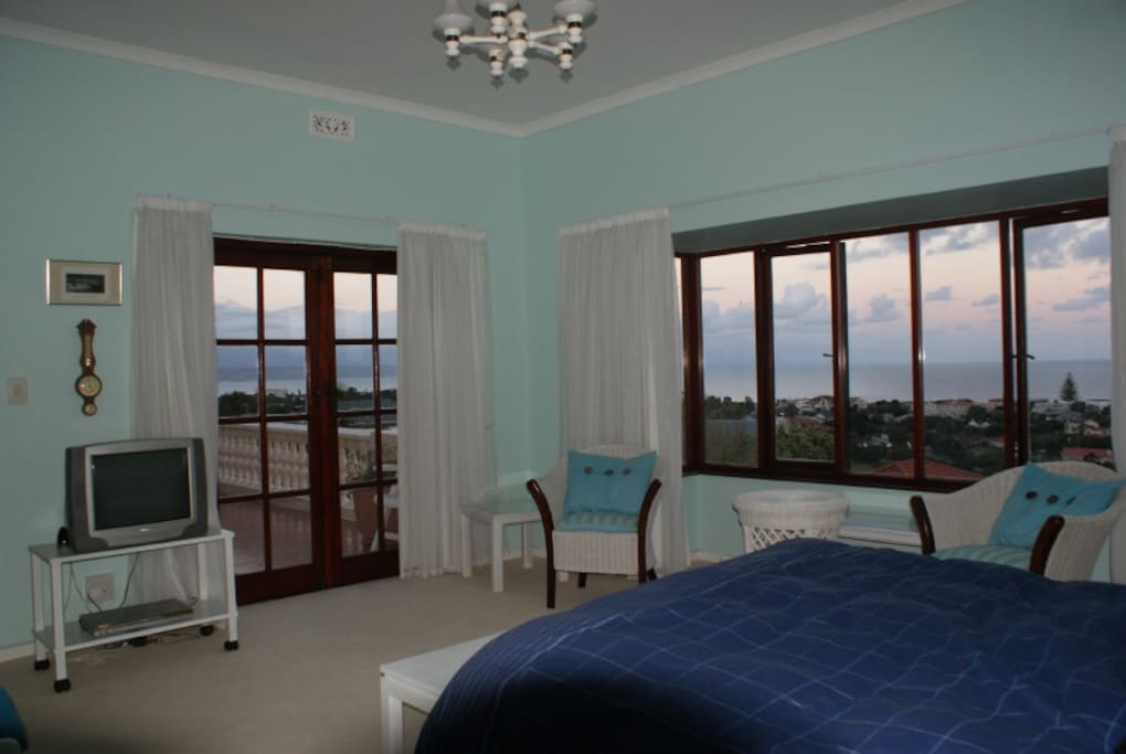 Main bedroom with view of Plett bay