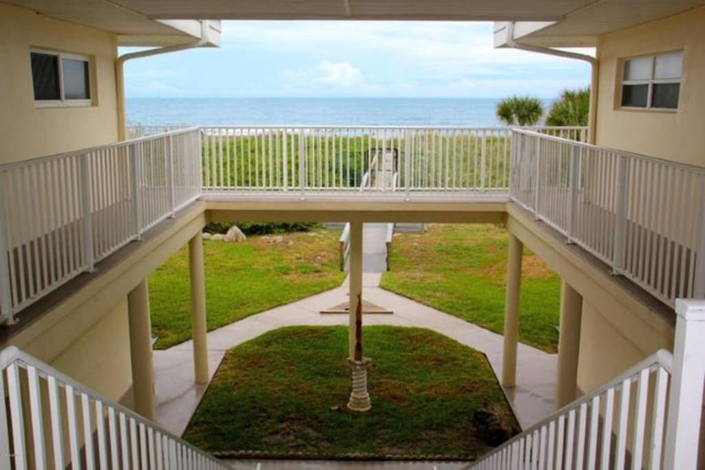 Ocean Front Complex with private access to Cocoa Beach.  This photo is of the view of the complex closest to the ocean.  This is not a view from the condo. Our condo is uniquely located at the end of the building giving you three sides of windows.