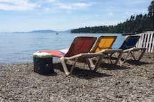 Our private beach is just a short 2 minute walk from your cabin. Enjoy lounge chairs, picnic tables, and more!