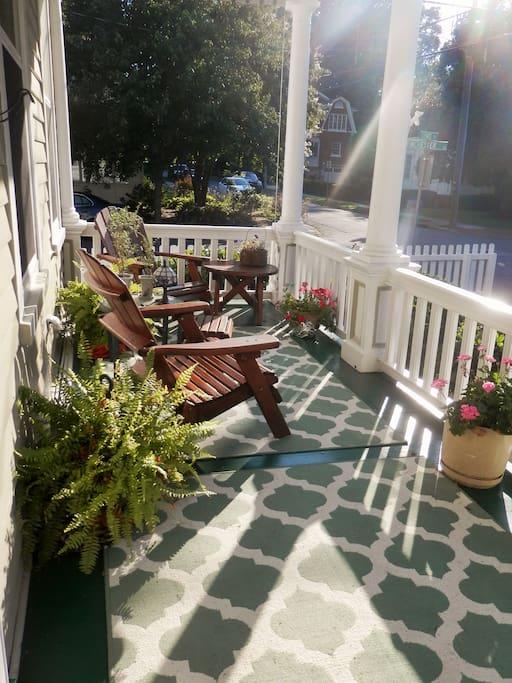 Enjoy Baklava & Greek coffee mid-day on our  front porch.