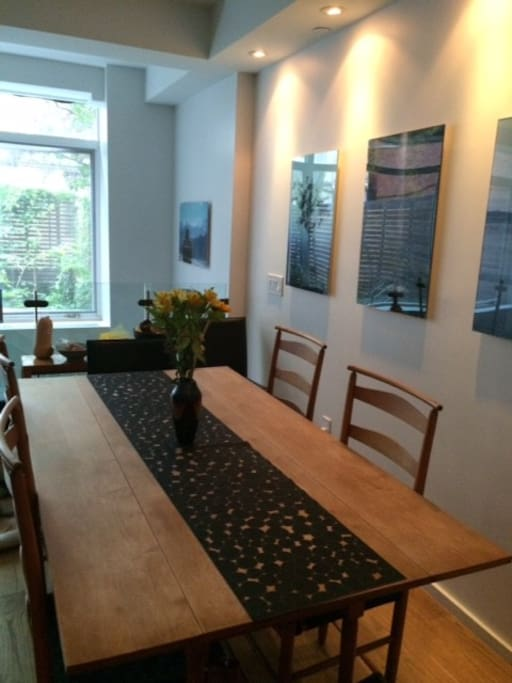 Dining room with view of garden