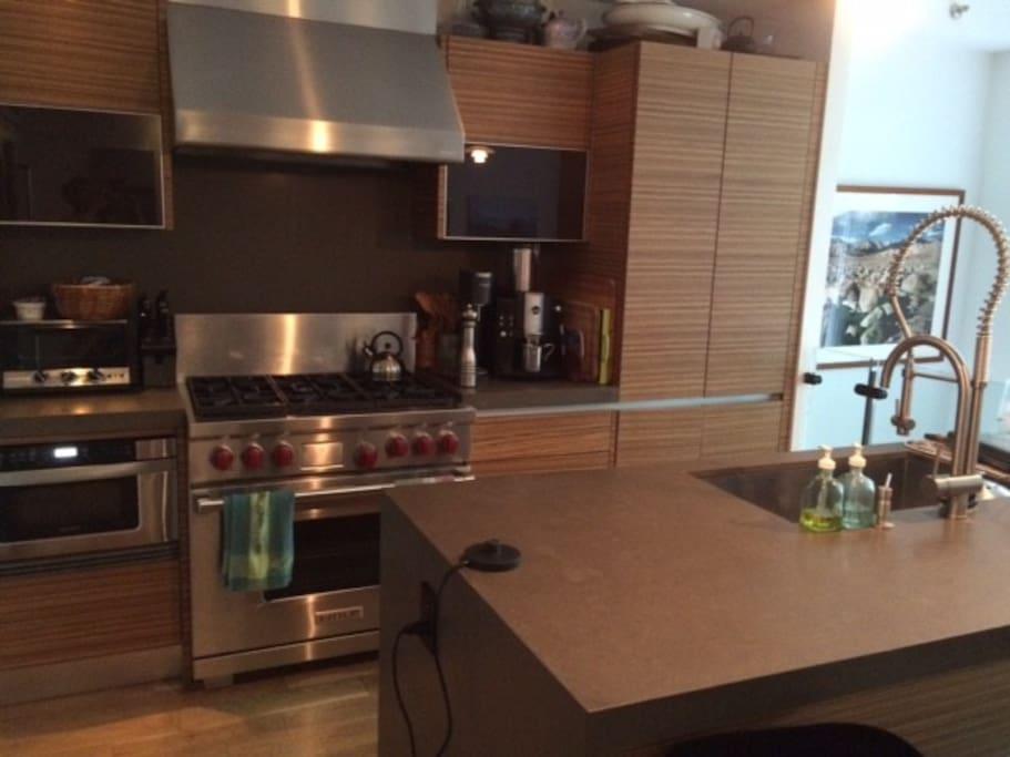 Kitchen - all stainless steel, Wolf range/oven