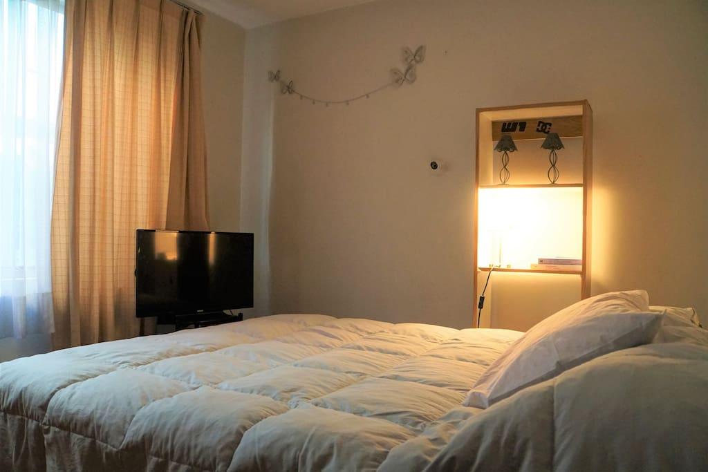 Pieza con cama matrimonial, bastante luz, sin ruido ambiental.