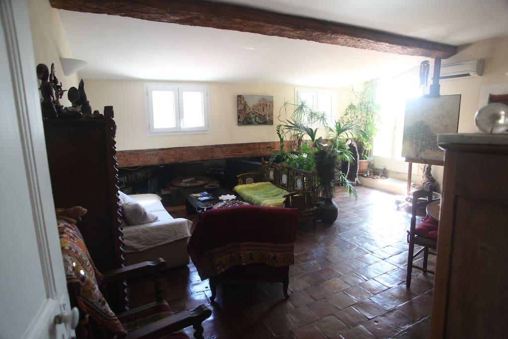 Salon 30 m2, plein sud, donc ensoleillé.