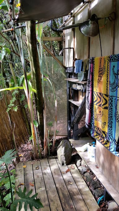 Hot outdoor shower (solar) with Paloma back-up (rarely needed, runs off propane)