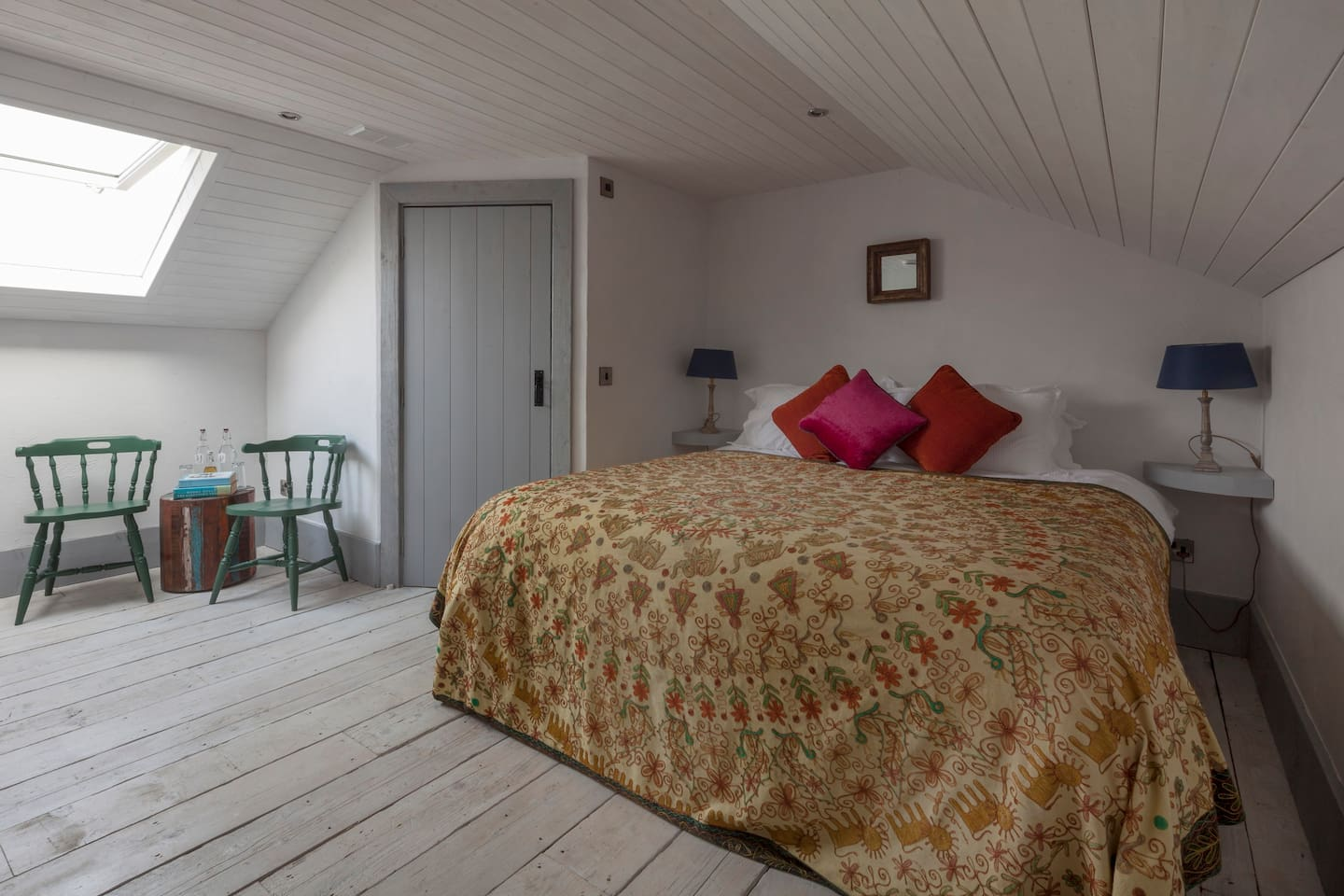 Each of the four bedrooms in the coachhouse room has a super-king sized bed with crisp white lined, quirky rustic interior and ensuite bathroom. This listing is for the Grainstore Room (pictured above) which has one huge, superking size bed and one proper single bed in the room, so perfect for a family travelling with a child or for two or even three singles.