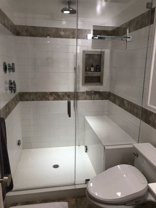 Steam shower with body jets, rain shower head and bidet toilet! We supply bath towels as  well as Eucalyptus oil for the steam shower.