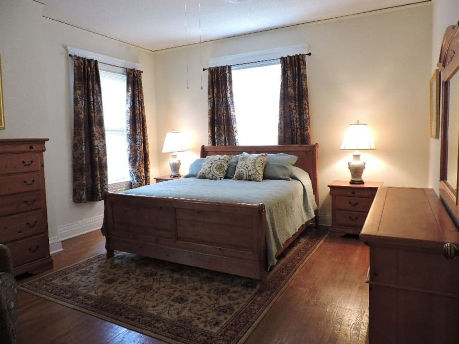 This is the master bedroom with king size bed and its own bathroom.