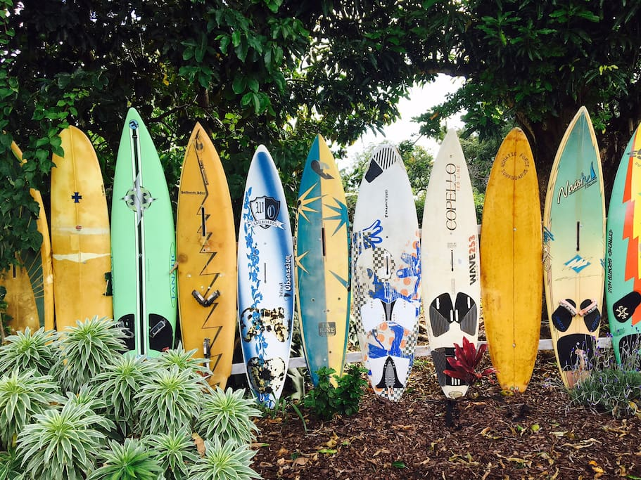 Surf board fence on our property