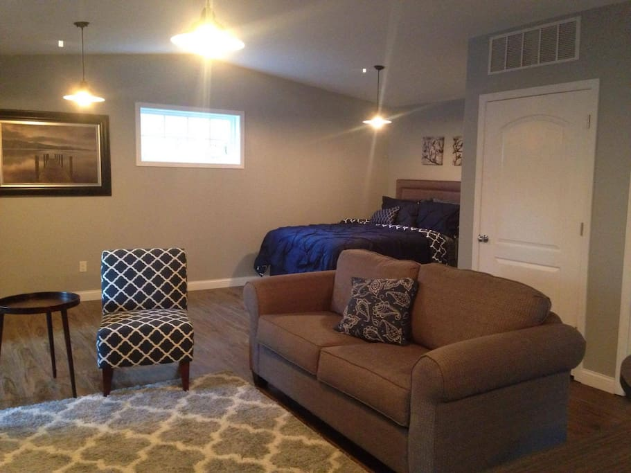 sleeper sofa and queen bed pictured