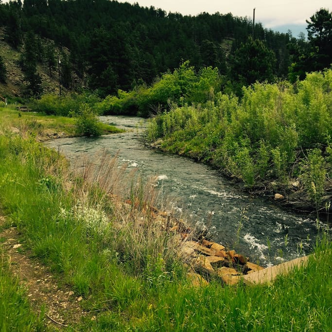 A beautiful creek flows through the Copper Canyon Lodge property.