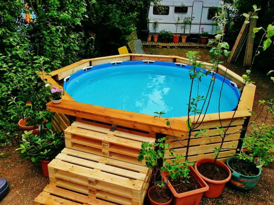 mit Pool im Garten zum erfrischen und abkühlen