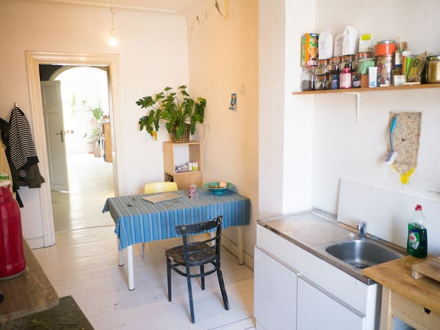 kitchen to living, I have some white chairs there now. kitchen fully equipped and some nice teas you can use.