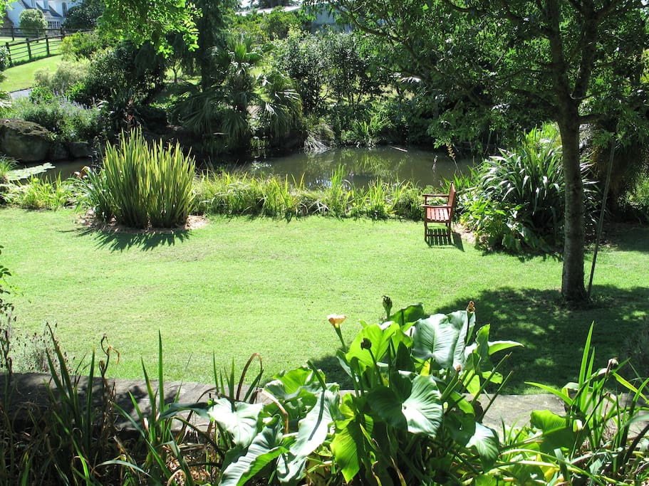 Our lawned area by the pond where we hold wedding ceremonies etc