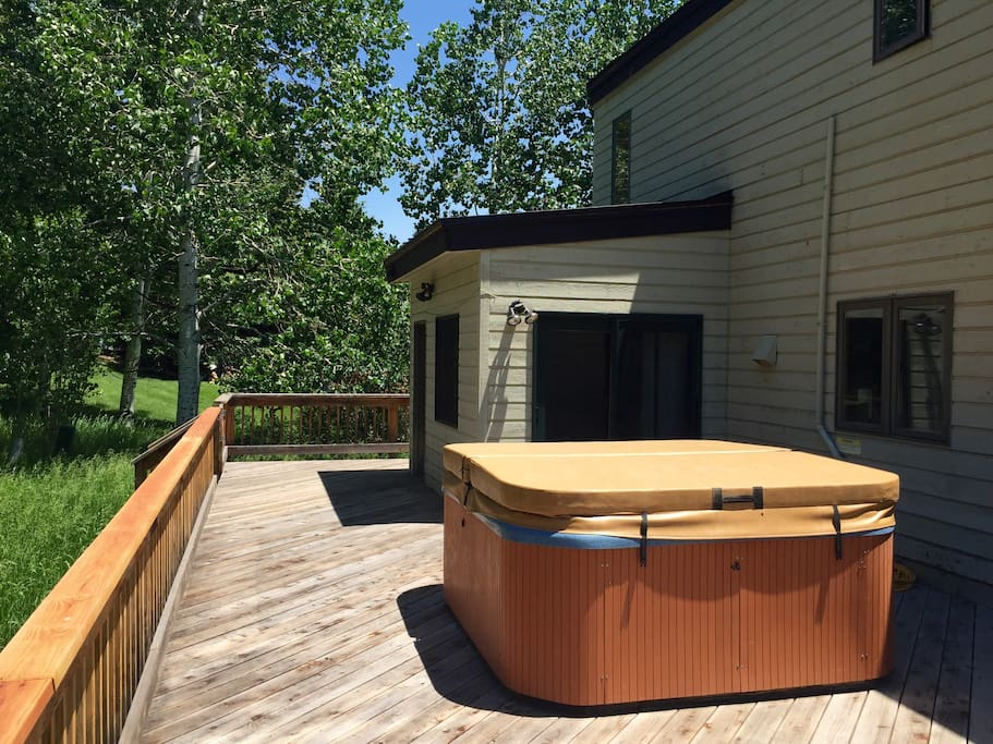 Back deck & hot tub - deck wraps around side of house