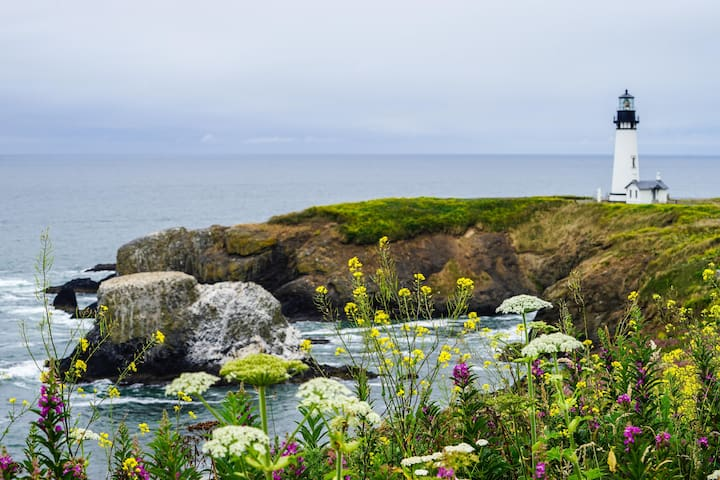 No visit is complete without seeing Yaquina Head Lighthouse, just 45 min. south of us.
