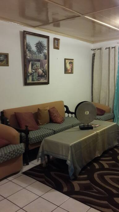 Your living area in the Art filled Jamaica vacation rental