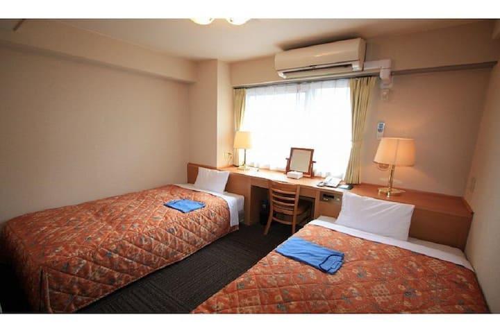 2mins->Kumegawa station/Twin room/NoMeal