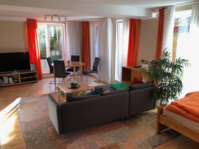 sunny quiet 2-room flat, garden, close to centre