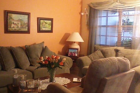 Its a  nice apartment with 2 bedrooms and 2 baths.  Clean and nicely decorated.  Same entrance.  Close to shoppings, restaurants, malls (Pembroke Lakes Mall and Sawgrass), public transportation.  Transportation available and city tours.