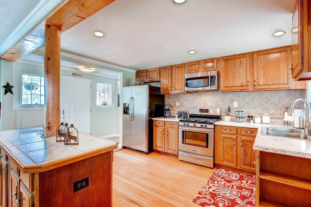 Coffee pot, toaster and other amenities will satisfy any cook.