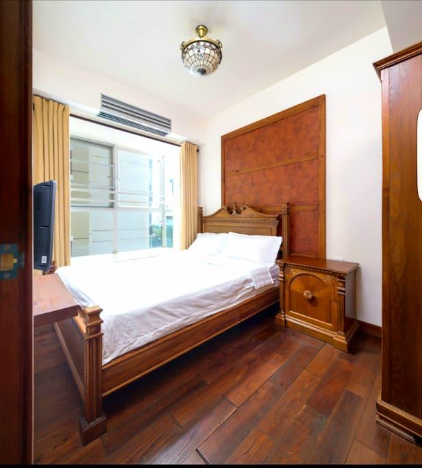 次卧,实木家具,1.5*2m大床