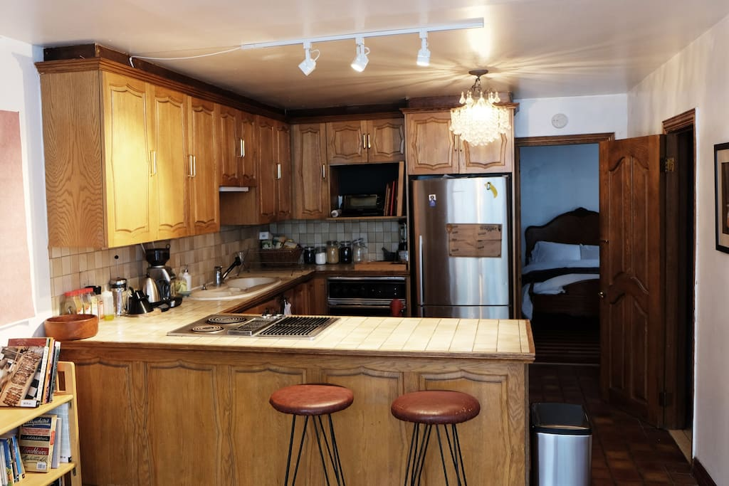 Kitchen is large and well equipped to cook a huge feast
