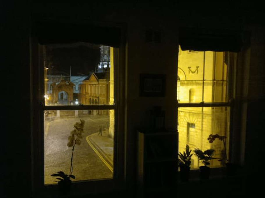 Night view from living room windows