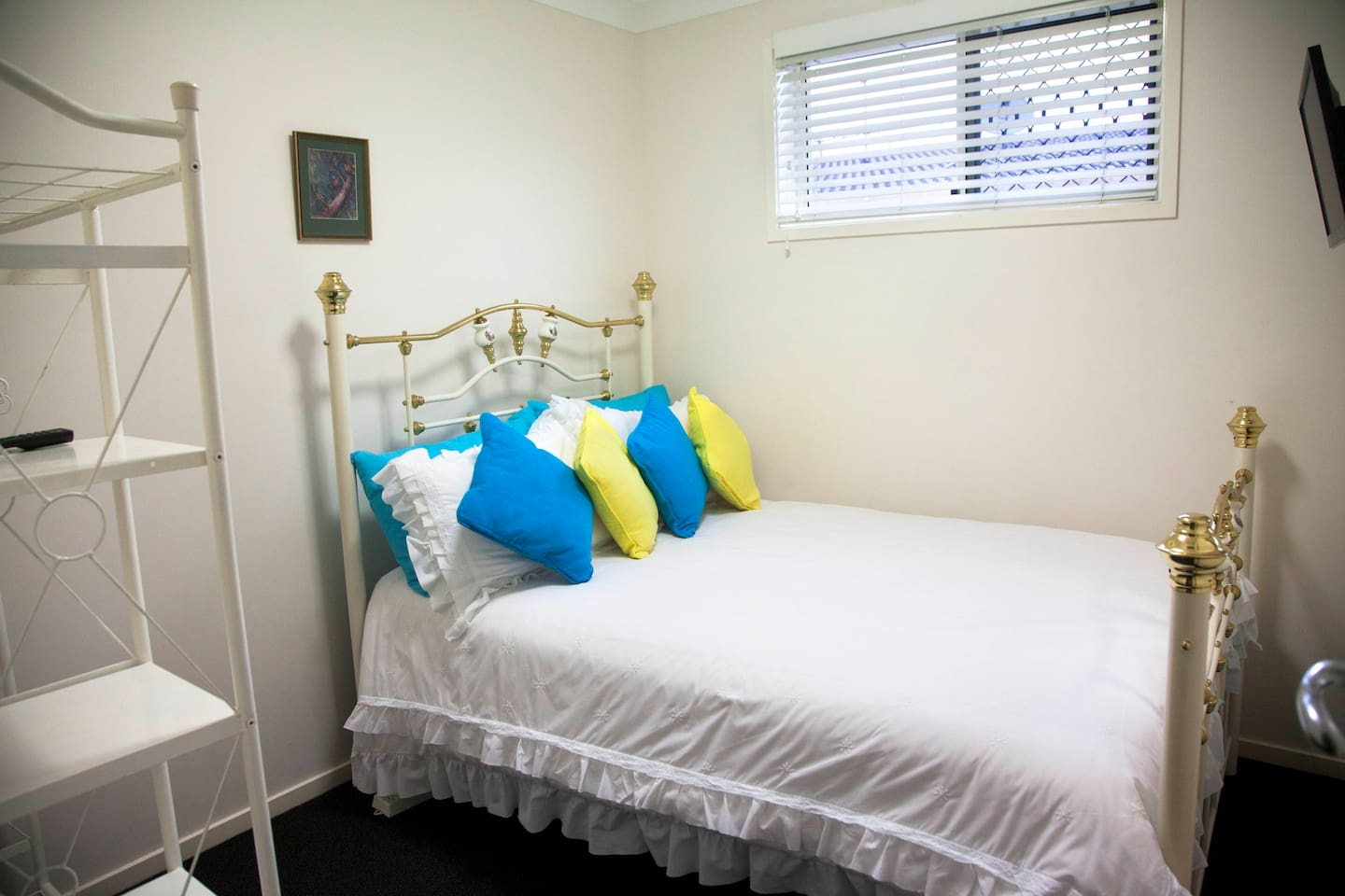 Cosy double bed. Small room with flat screen TV and DVD player