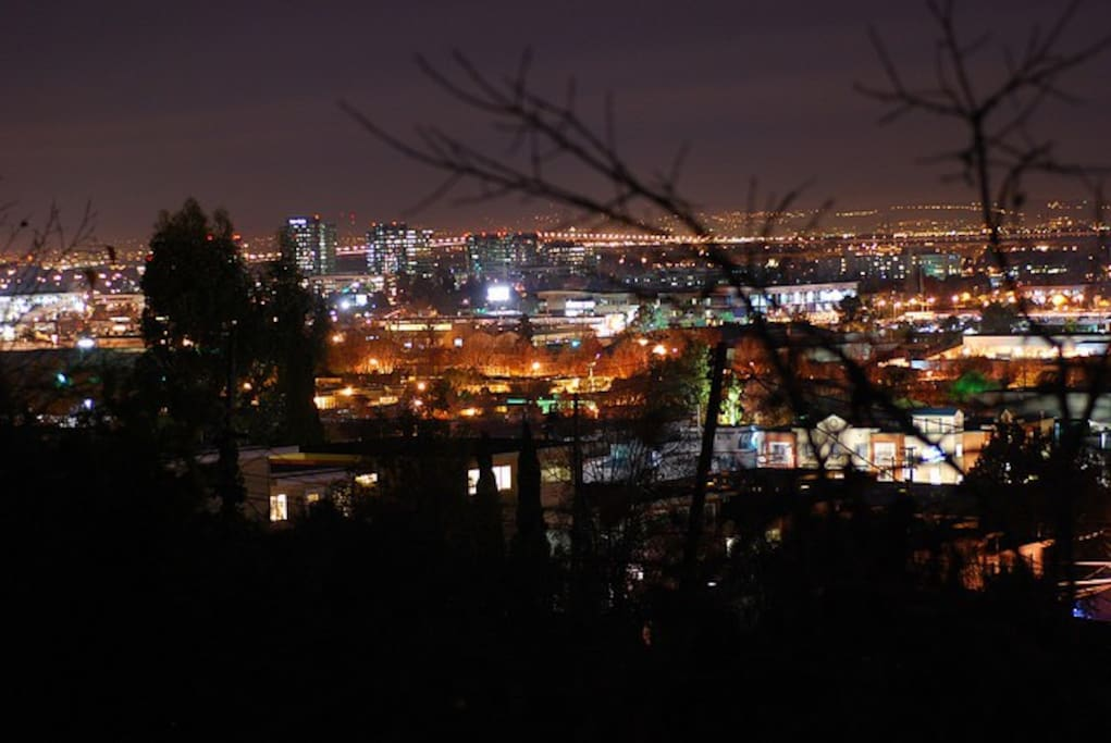 balcony night view, to the south east, with twinkling lights of san carlos, redwood city and beyond.
