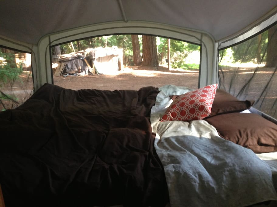 A bed in the RV.