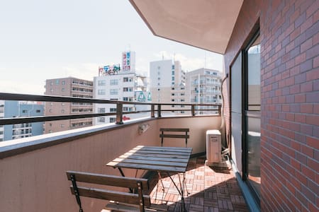 NEWLY RENOVATED and open for reservation in August 2015  BIG in size (36 sqm) Big balcony facing the river Dinning room, Kitchen, Toilet & Classic Tatami Bedroom 5 mins to Yakuin Stn 10 mins walk to Tenjin area