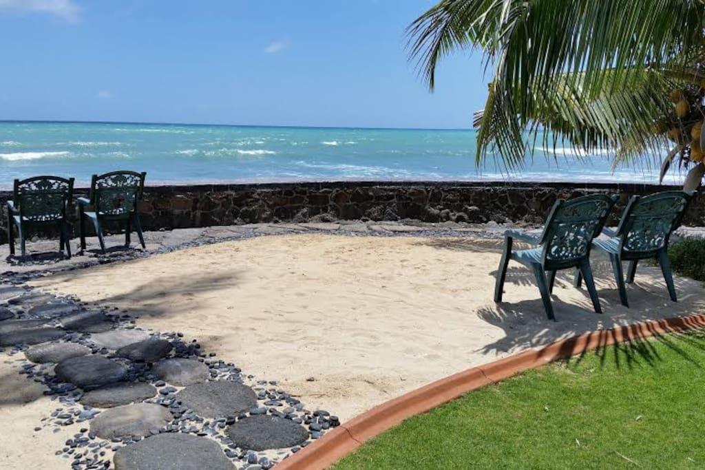 "The backyard at Oceanfront home ""Nani Moana Hale"" in beautiful sunny Ewa Beach."